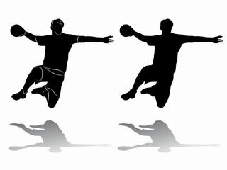 Silhouette handball player. vector drawing