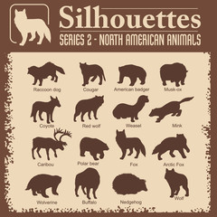 Silhouettes - North American animals.