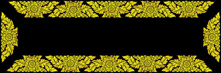 golden frame isolate black background.