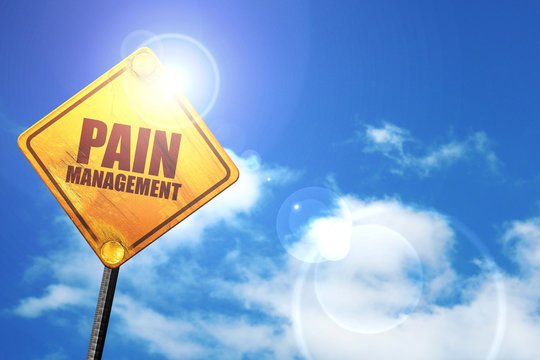 pain management, 3D rendering, a yellow road sign