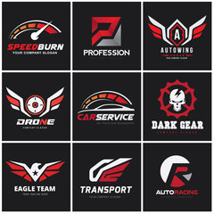 Automotive logo set,auto set,car services logo collection,excavator logo,Vector logo collection