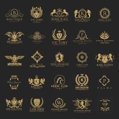 Luxury royal crest logo collection design for hotel and fashion brand identity.