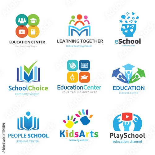 School Logo Set Education Collection Kids Learning Creative Idea Design Vector Template