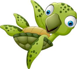 cute cartoon turtle waving