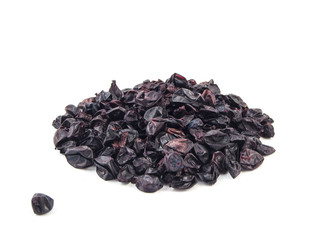 Dried barberry berries on white background