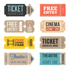 Vintage Tickets in different style,flat design set 2