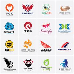 Animal logo collection,Bird Logo,Eagle logo,Owl logo,fox logo,lion logo,monkey logo,horse logo,fish logo,pet shop logo,octopus,pig,money logo,rabbit logo,butterfly logo,pet logo,Vector logo template