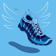 Single blue sneaker or sports shoe with flying laces floating above a drop shadow over a light blue background, vector illustration
