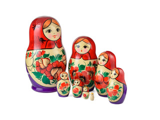 Russsian nested dolls set on a white background