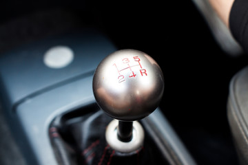 A manual gear shift knob