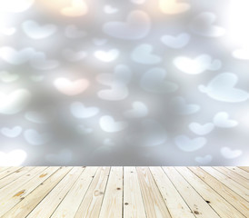 Wood table top on bokeh abstract background