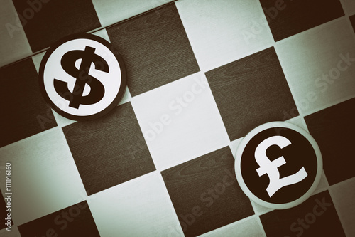 Draughts Checkers Us Dollar Vs British Pound Comparison Or Conflict Between Economies