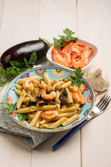 pasta with shrimp and eggplants