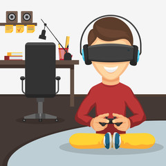 Boy in virtual reality glasses