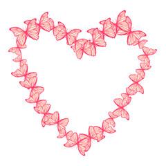 Vector illustration of heart made of butterflies