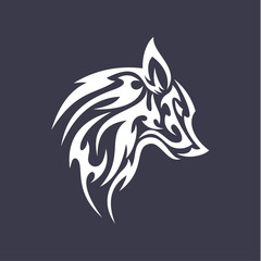 Wolf flat tattoo style logo design vector smoother stylized animal icons logos