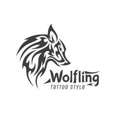 Scary wolf animal minimalism logo tattoo style is modern brand flat lustration