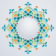 Arabic pattern circle geometric ornament colorful mosaic