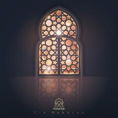 Eid Mubarak greeting card background islamic design banner