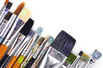 Set of artist brushes on a white background
