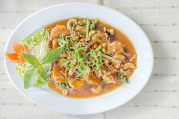 Deep Fried Shrimp with Tamarind Sauce delicious Thai food.