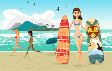 Sea landscape summer beach, woman with surfboards. Two woman dre