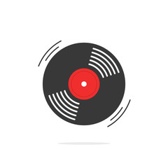 Vinyl record vector icon, gramophone record symbol, rotating record vinyl disc, flat vinyl lp, cartoon vinyl record label, cover emblem modern simple illustration design isolated on white