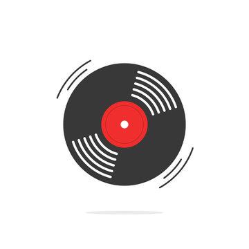 Vinyl record vector icon, gramophone record symbol, rotating record vinyl disc, flat vinyl lp, cartoon vinyl record label, cover emblem modern simple illustration design isolated on white