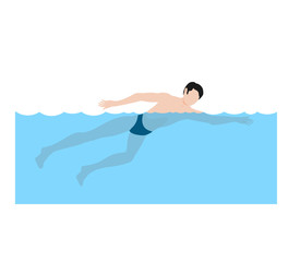 Athlete swimming front crawl. Swimmer in dark swimming trunks.