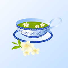 Porcelain cup of green tea with jasmine.