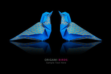 Origami blue birds couple