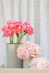 Natural flower bouquets with pastel colors, bunch of Pink Peony and Hydrangea flowers
