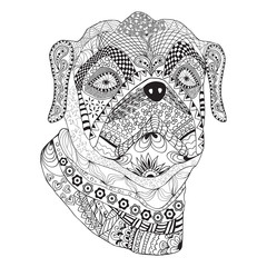 Hand drawn stylized dog with ethnic floral doodle pattern
