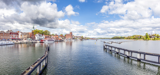 Kappeln Panorama, view from the Flap Bridge, Region Schlei, Northern Germany