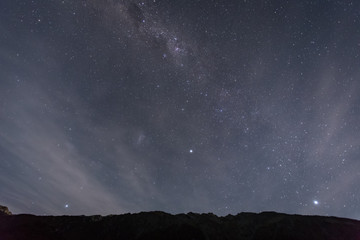 mt. cook at night with stars in the sky