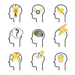 Human mind process icon set