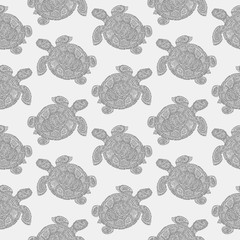 Sea turtle illustration in paisley mehndi style wallpaper pattern. The tortoise reptile animal. Tattoo style tortoise-shell. Turtle in decorative doodle style.