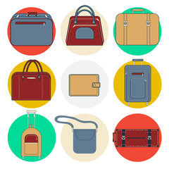 Baggage Icons. Luggage Icons Set. Bags and Suitcases. Vector illustration