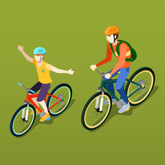 Isometric People. Isometric Bicycle. Father and Son Cyclist. Vector illustration