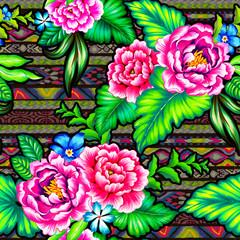 folk flowers with aztec background