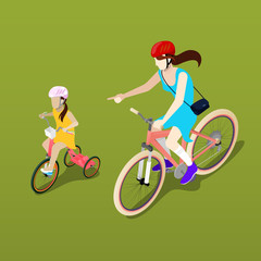 Isometric People. Isometric Bicycle. Mother and Daughter Cyclists. Girl on the Bicycle