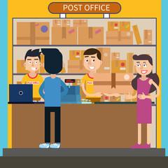 Post Office. Woman Receiving Parcel. Postal Service. Man Sending a Letter