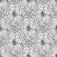 Doodle seamless pattern with flowers. Creative textile swatch or packaging design. Adult coloring book page.