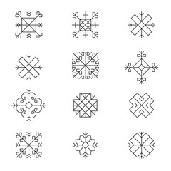 Variations of the ancient Latvian sun sign vector set -variable line-