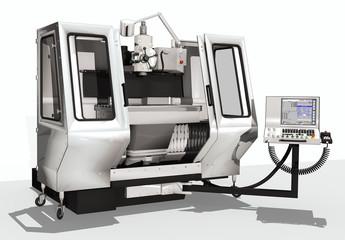 CNC Maschine mit Control Panel, freigestellt
