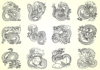 Set 12 Asian dragon black contour