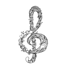 hand drawn ink doodle treble clef on white background. Coloring page - zendala, design for adults, poster, print, t-shirt, invitation, banners, flyers.