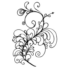 hand drawn ink doodle ornament on white background. Coloring page - zendala, design for adults, poster, print, t-shirt, invitation, banners, flyers.
