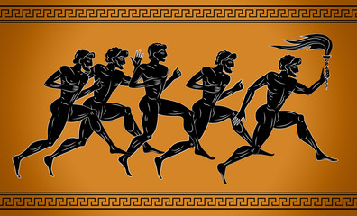 Black-figured runners with the torch. Illustration in the ancient Greek style. Sport concept illustration. Fototapete