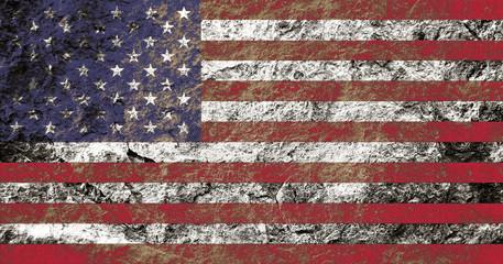Grunge USA flag on stone background